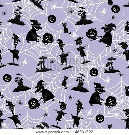 Seamless Pattern, Black Silhouette of a Witch, Pumpkin, Scarecrow and Other Halloween Holiday Symbols on the Background with White Contours of Cobwebs and Spiders. Vector