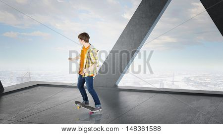 Boy ride skateboard . Mixed media