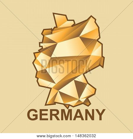 Digital vector germany map with abstract golden triangles and brown outline, flat style