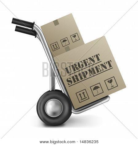 Urgent Shipping Cardboard Box Hand Truck