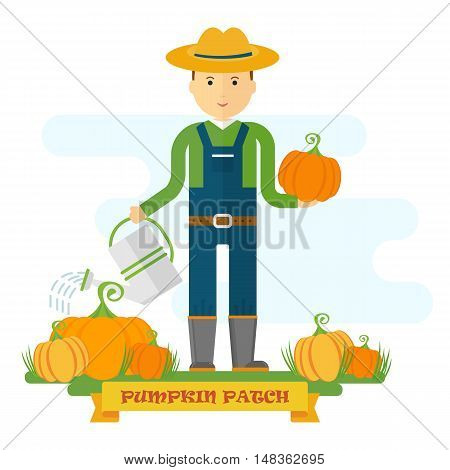 Vector pumpkin patch. Farmer on the field watering pumpkin. Harvesting. Design elements for advertising promotion branding and media. Flat cartoon illustration. Objects isolated on white background.