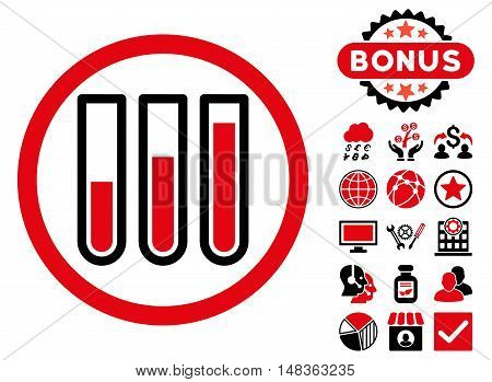 Blood Test Tubes icon with bonus symbols. Vector illustration style is flat iconic bicolor symbols, intensive red and black colors, white background.