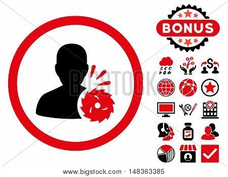 Body Execution icon with bonus elements. Vector illustration style is flat iconic bicolor symbols, intensive red and black colors, white background.