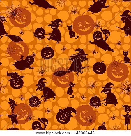 Seamless Pattern, Silhouette of a Witch on a Broomstick, Pumpkin, Ghost, Cat, Spider with Web and Other Characters Halloween Holiday Symbols on the Abstract Background. Vector
