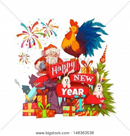 Happy New Year 2017 banner with Santa Claus and rooster on ribbon. Vector illustration with Santa and rooster isolated on white background