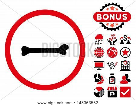 Bone icon with bonus pictogram. Vector illustration style is flat iconic bicolor symbols, intensive red and black colors, white background.