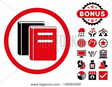 Books icon with bonus design elements. Vector illustration style is flat iconic bicolor symbols, intensive red and black colors, white background.
