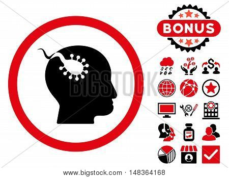 Brain Parasite icon with bonus images. Vector illustration style is flat iconic bicolor symbols, intensive red and black colors, white background.