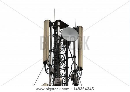 Sector antenna mobile communications and antenna relay link. Isolated on white background.