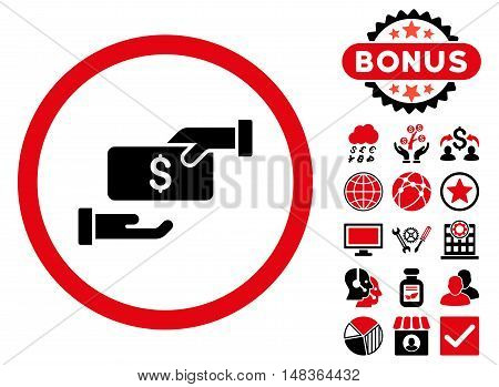 Bribe icon with bonus design elements. Vector illustration style is flat iconic bicolor symbols, intensive red and black colors, white background.