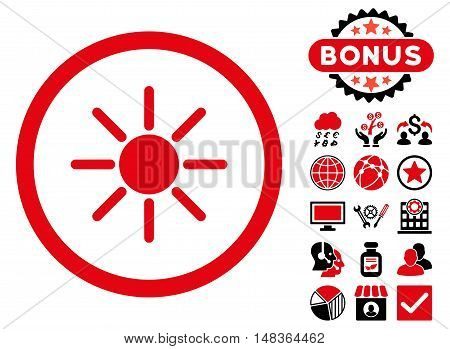 Brightness icon with bonus images. Vector illustration style is flat iconic bicolor symbols, intensive red and black colors, white background.