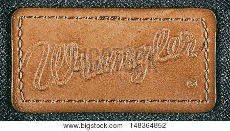 Estonia, Tallinn, Januaryr 05, 2016. Wrangler jeans label. Selective focus. Retro style toned image