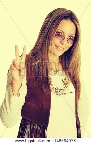 Smiling girl wearing hippie costume