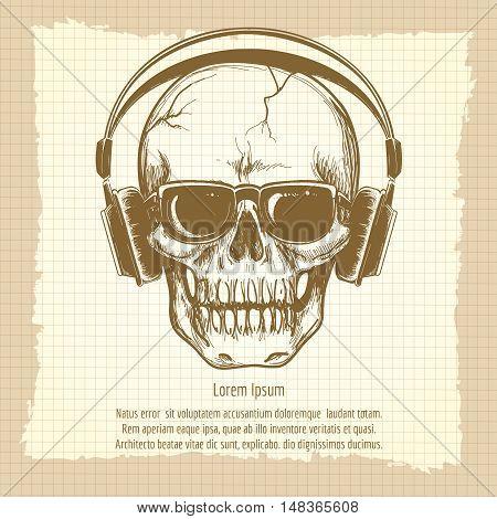 Drawing skull sketch with headphones vintage vector illustration