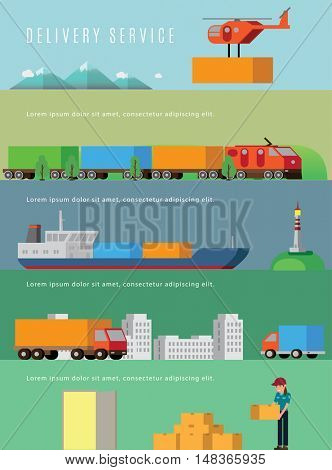 Transportation and delivery web banners. Flat isomeric vector illustration.