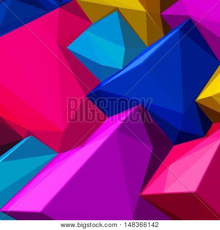 Abstract background with colorful cubes and triangular shades for magazines, booklets or mobile phone lock screen
