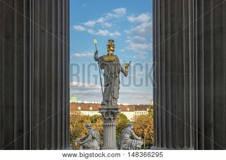 Pallas Athene statue of greek goddess in front of austrian parliament