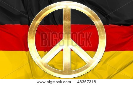 The national flag of Germany with golden peace symbol in gold.  3D rendering.