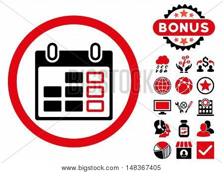 Calendar Week icon with bonus pictogram. Vector illustration style is flat iconic bicolor symbols, intensive red and black colors, white background.