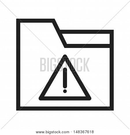 Warning, folder, alert icon vector image. Can also be used for user interface. Suitable for mobile apps, web apps and print media.