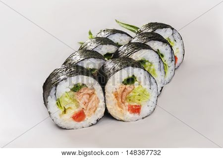 roll in nori with chicken tomato lettuce sauce isolated