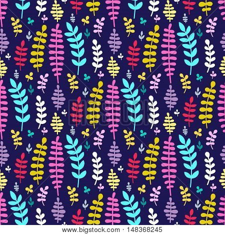 Vector seamless pattern with hand drawn flat plants. Branch with leaves. Pink blue white yellow red and violet elements on dark violet background.