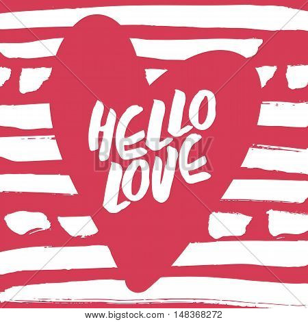 Decorative modern card. Typography poster with white handlettering and pink heart on striped background. Stylish colorful design element for wedding, valentines day, save the date or romantic design