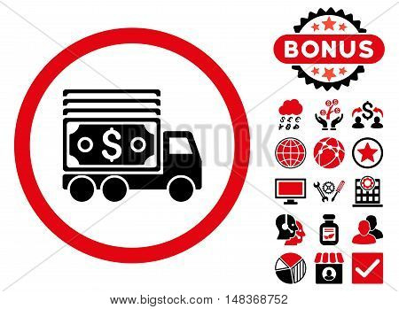 Cash Lorry icon with bonus symbols. Vector illustration style is flat iconic bicolor symbols, intensive red and black colors, white background.
