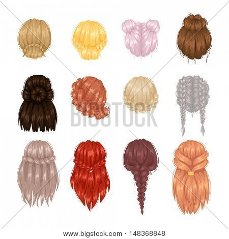 Vector woman hairstyle back view