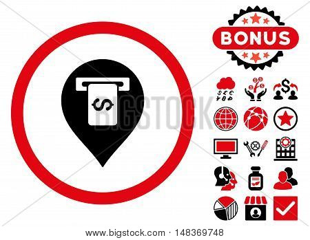 Cash Terminal Pointer icon with bonus symbols. Vector illustration style is flat iconic bicolor symbols, intensive red and black colors, white background.