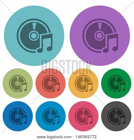 Color audio CD flat icon set on round background.