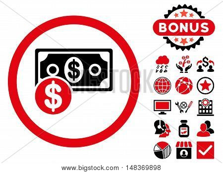 Cash icon with bonus design elements. Vector illustration style is flat iconic bicolor symbols, intensive red and black colors, white background.