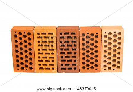 Red brick isolated on a white background.