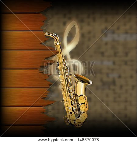 musical wooden planks with a saxophone on a blurred background of an old brick wall and a treble clef.