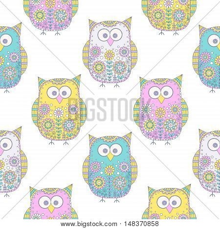 Seamless vector pattern with cartoon doodle owls. Cute birds with hand drawn floral ornament. Pastel color owls on white background. Nice design for kids.