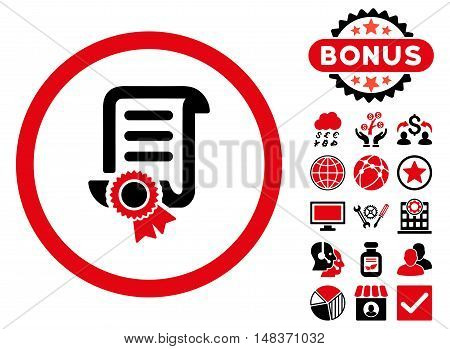 Certified Scroll Document icon with bonus design elements. Vector illustration style is flat iconic bicolor symbols intensive red and black colors white background.