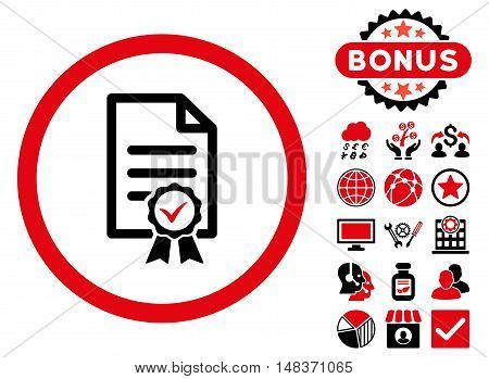 Certified icon with bonus elements. Vector illustration style is flat iconic bicolor symbols intensive red and black colors white background.