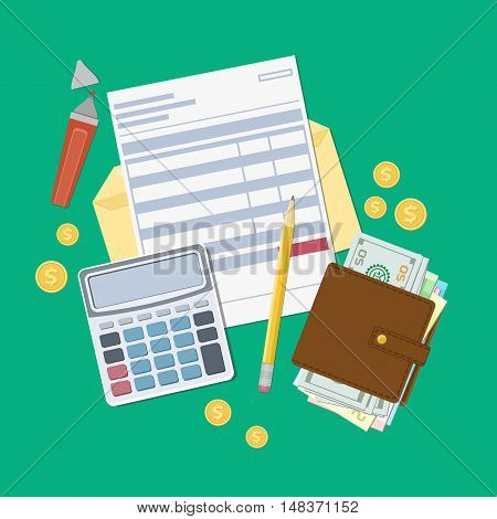 Bill payment or a tax invoice. Open envelope with a check, calculator, purse with money, pencil, marker, gold coins. View from above. Vector illustration. Flat web design.