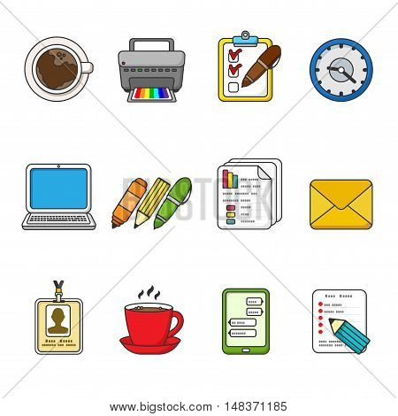 Vector business icons set. Color outlined icon collection. Laptop, printer, smartphone, printer, badge, documents, coffee cup, watch, graphics, tablet, messages, pen, pencil, marker.