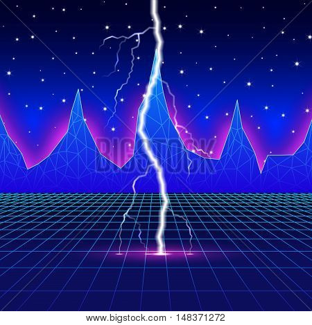 Neon new retro wave landscape with lightning