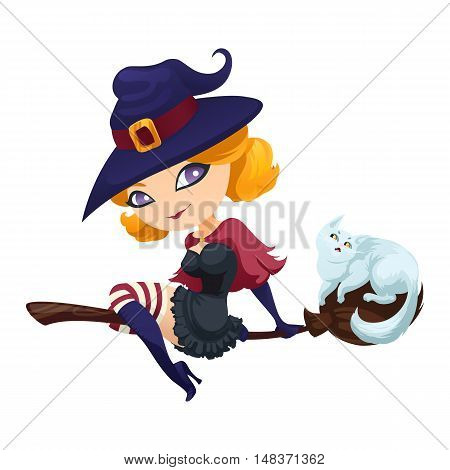 Cute witch flying on a broom with a cat. Witch on a broom isolated on white background. Vector illustration.