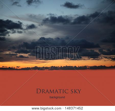 dramatic night sky with clouds