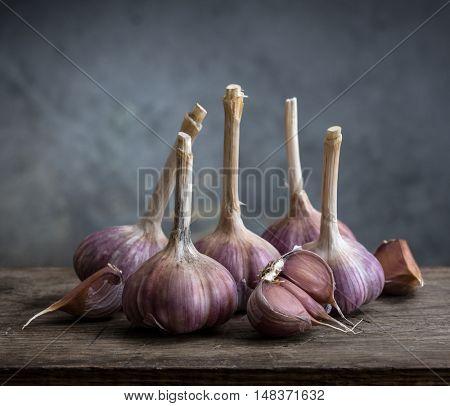 garlic on a wooden board. still life