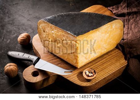Old Amsterdam cheese composition, Food background