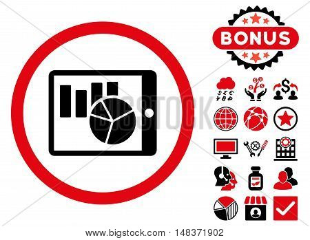Charts on Pda icon with bonus pictogram. Vector illustration style is flat iconic bicolor symbols, intensive red and black colors, white background.
