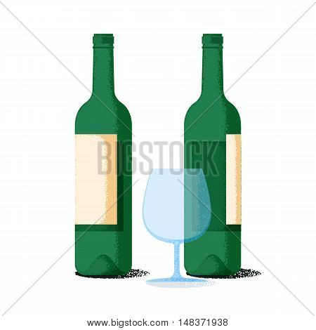 Wine bottles pair and glass flat icons with retro grainy gradient