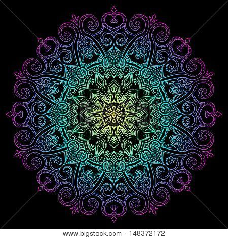Vector hand-drawn oriental mandala, ethnic doodle mandala with colorful gradient ornament, isolated decorative template, Islam, Arabic, Indian, ottoman motifs, EPS 10