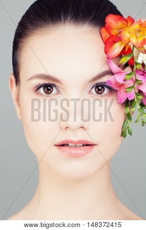 Spa Woman Cute Face Perfect Skin with flowers