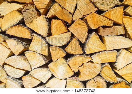 Texture of firewood stack for the stove and fireplace