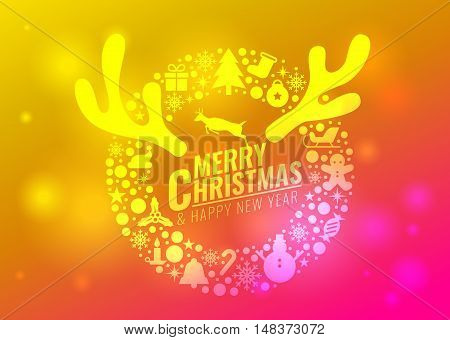 Merry Christmas And Happy New Year Card - Circle Christmas Icon Sign And Reindeer Antlers And Reinde